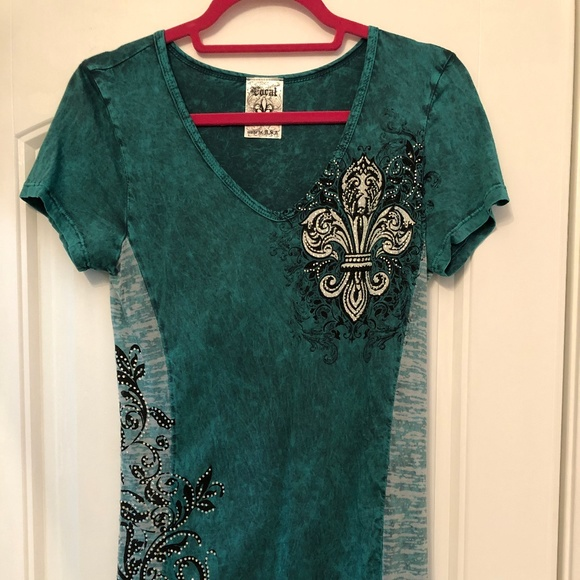 Vocal Tops - Green with stones burn-out top